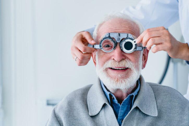 Portrait of a mature man fitting cornea replacement